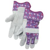 Women's Cow Split Leather Gardening Gloves - Purple