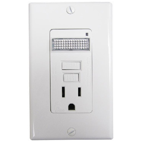 GFCI Receptacle with Built-in LED Guide Light