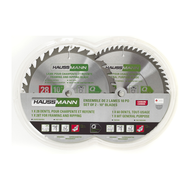 Set of 2 Carbide-Tipped Saw Blades