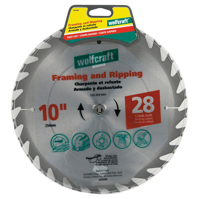 "Framing Circular Saw Carbide Blade - 10"" x 28TH"