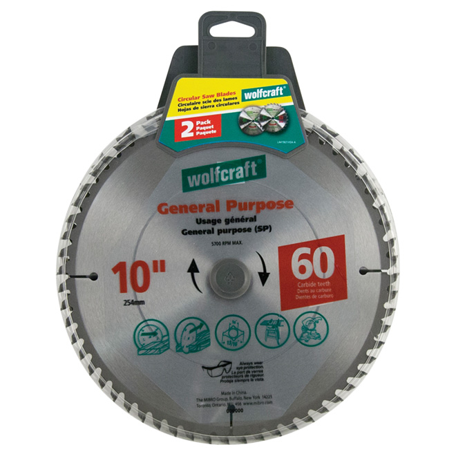 "General-Purpose Carbide Saw Blade-10""-60TH- 2-Pack"