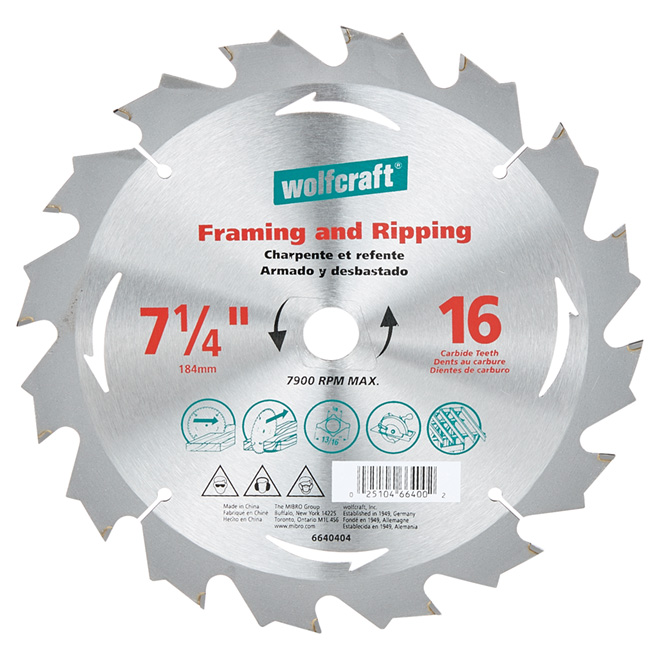 "Framing Circular Saw Carbide Blade - 7 1/4"" - 16 Teeth"