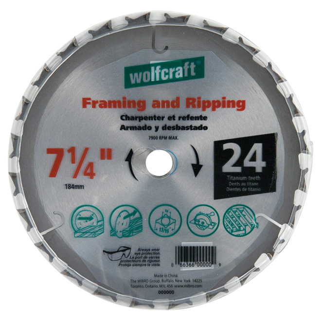 "Framing Circular Saw Titanium Blade- 7 1/4"" - 24TH"