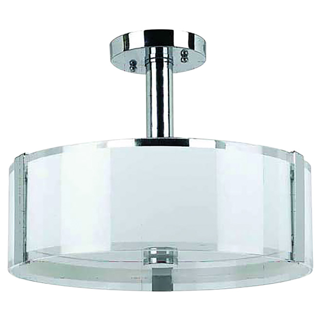 "Semi Flushmount with Glass Shade 14"" - Sinclair - Chrome"