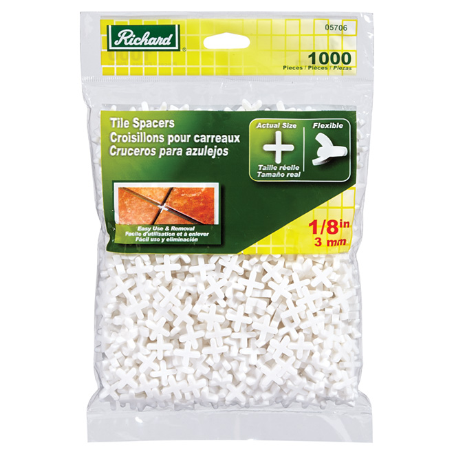 "Flexible Tile Spacers - 1/8"" - 1,000-Pack"