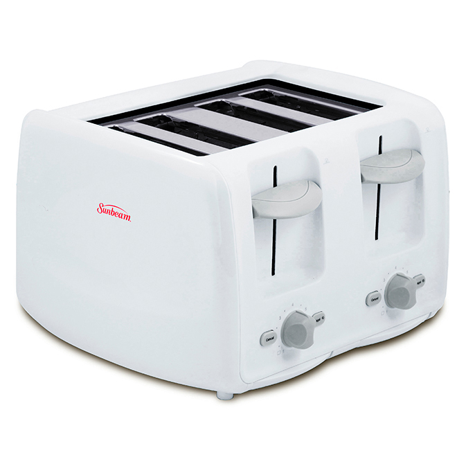 4-Slice Toaster with Retractable Cord - White