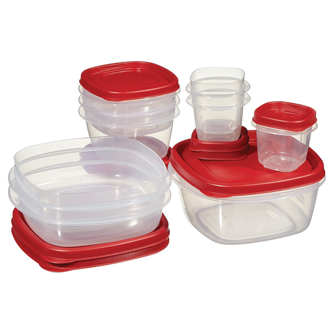 Set of 9 Food Containers - Plastic - Various Sizes