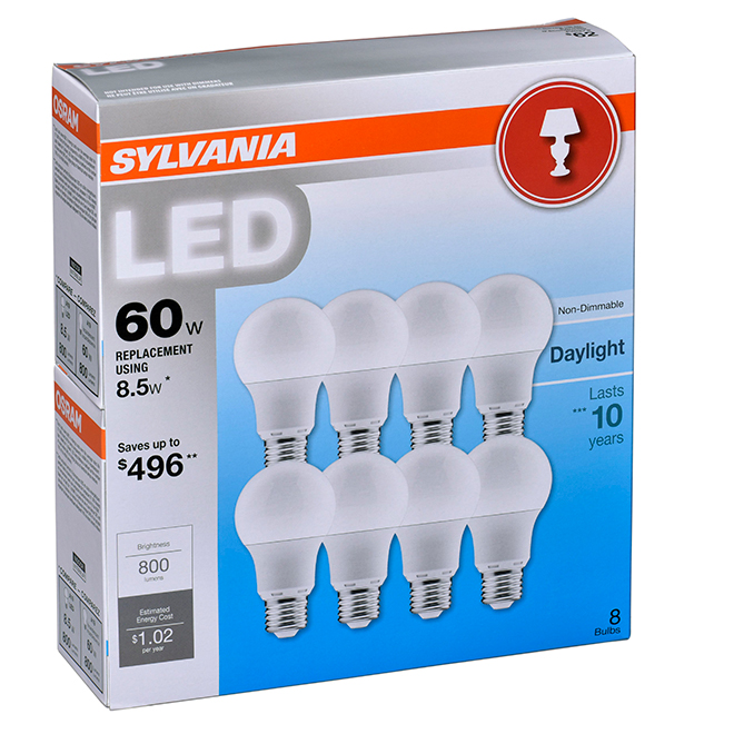 8.5 LED A19 Bulbs - 60W Equivalent - Daylight - 8 Pack