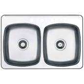 4-Hole Double Sink - 20.5 x 31.5 x 7