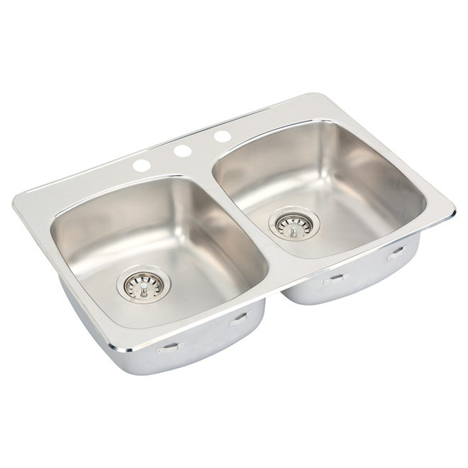 Double Sink -Stainless Steel - 3 Holes -Top Mount - 34""