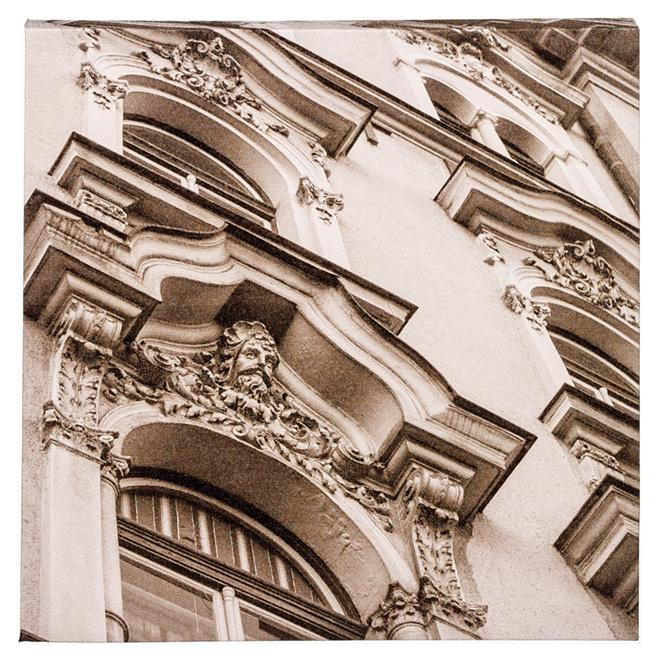 Wood and Cotton Sepia Laminated Canvas - Baroque Windows