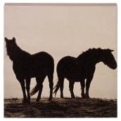 Cotton Black and White Canvas - Horses