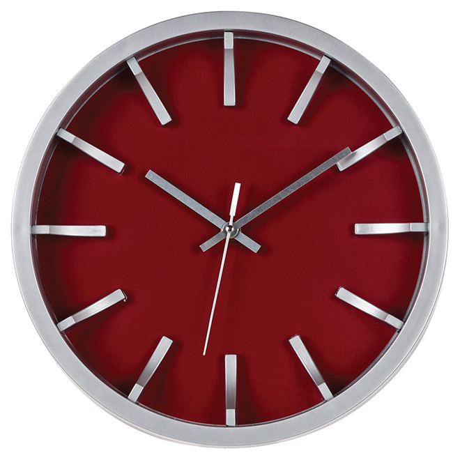 Wall Clock - Red/Silver - 12""