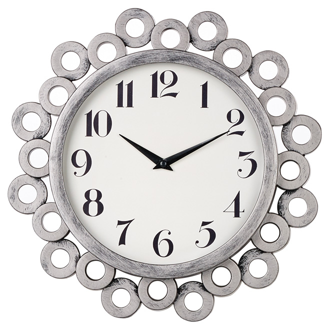 "Wall Clock - 12"" - Antique Silver"