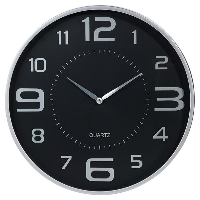 horloge murale 18 noir argent rona. Black Bedroom Furniture Sets. Home Design Ideas