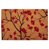 Poppies Pattern Mat - 26'' x 36'' - Natural