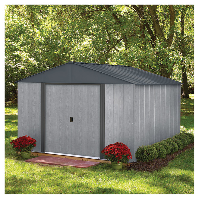 Garden Sheds Rona storage shed - 10' x 10' - driftwood - steel - grey | rona