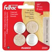 Fused-Felt Plastic Leg Tips - Round - White - 3/4