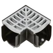 90° Angle Moulded Grey Plastic Storm Drain Corner