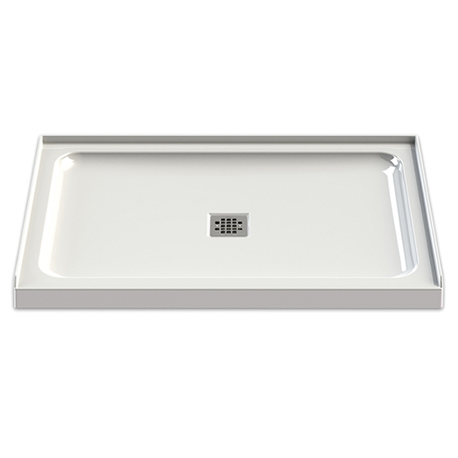 "Base de douche en acrylique, drain central, 48"" x 32"", blanc"