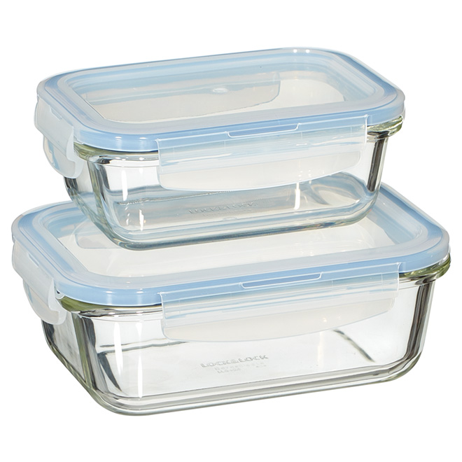 Set of 2 Food Containers - 380/630ml - Borosilicate Glass