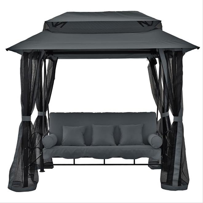 balan oire avec abri de jardin et moustiquaires gris fonc rona. Black Bedroom Furniture Sets. Home Design Ideas