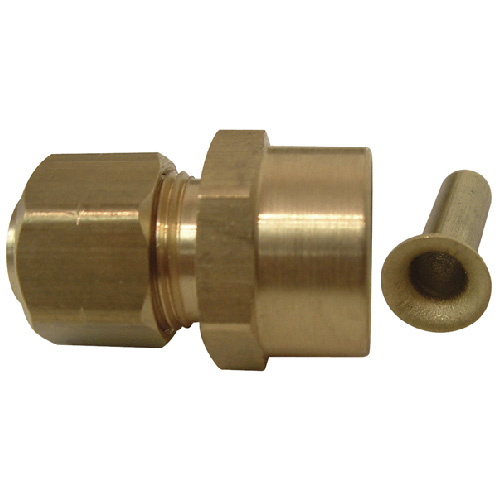 "Coupling - Brass - 3/8"" x 1/2"" - Tube x Sweat"