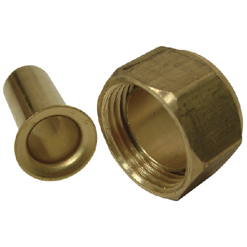 Compression Nut with Insert - Brass - 1/2""