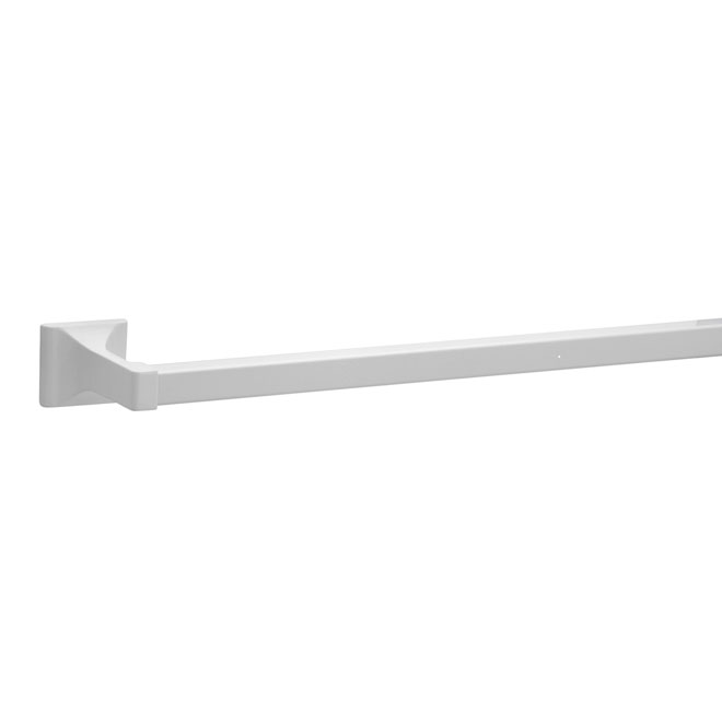 """Prisma W"" White Aluminum Towel Bar 18"""