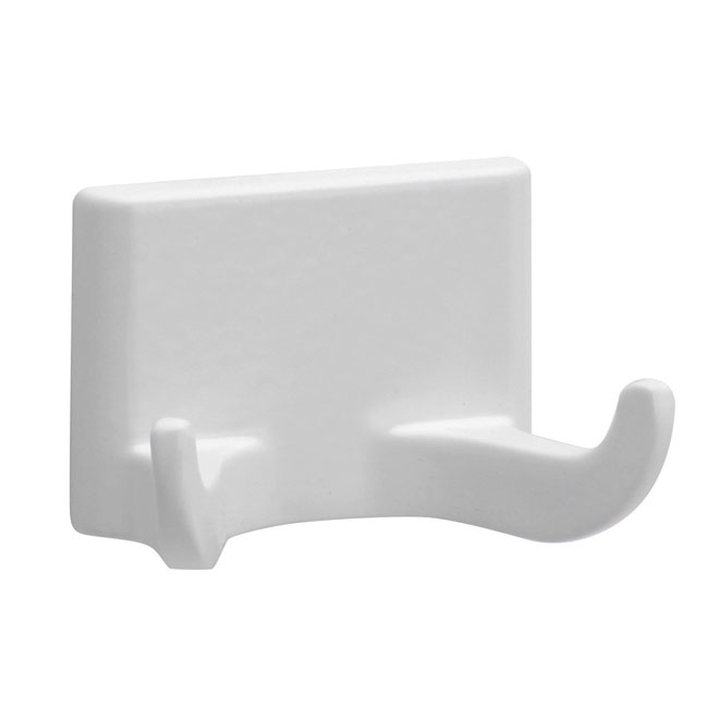 """Prisma W"" White Metal Double Robe Hook"