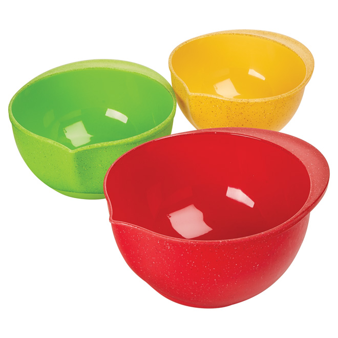 3-Piece Mixing Bowl Set - Plastic - Assorted Colors
