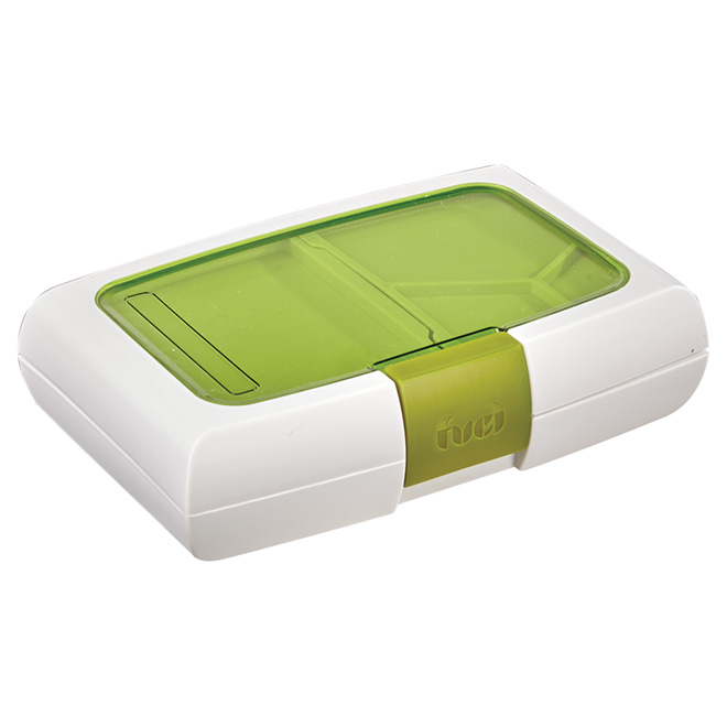 Lunch Container with Compartments - Plastic - White/Green