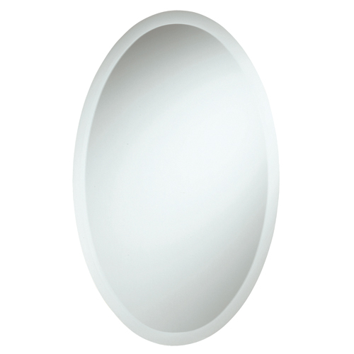 Frameless Oval Glass Bevelled Mirror with EZ Clip