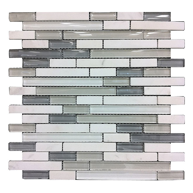 Glass/Stone Wall Tiles - Artic Mosaic - 6/Box