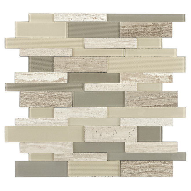 "Ridgeline Mosaic Glass Marble Tile - 12"" x 12"" - Grey"