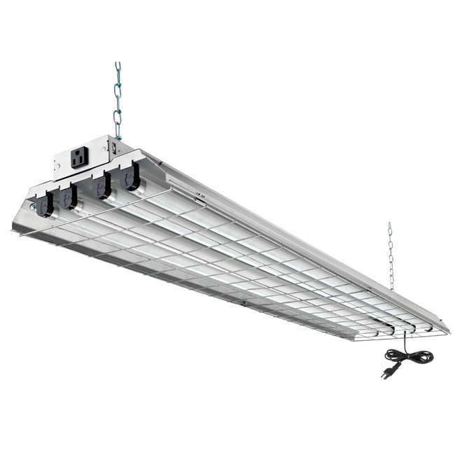 Luminaire fluorescent - 4 lumières - grille protectrice - 48 po