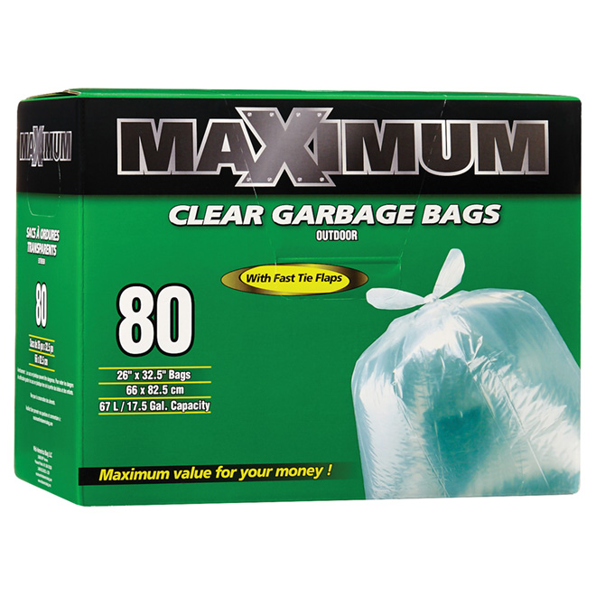 Outdoor Garbage Bags - Clear - 67 L - 80-Pack