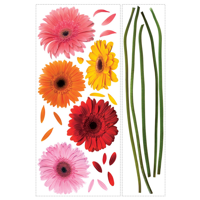 Peel and Stick Wall Decals - Large Gerber Daisies