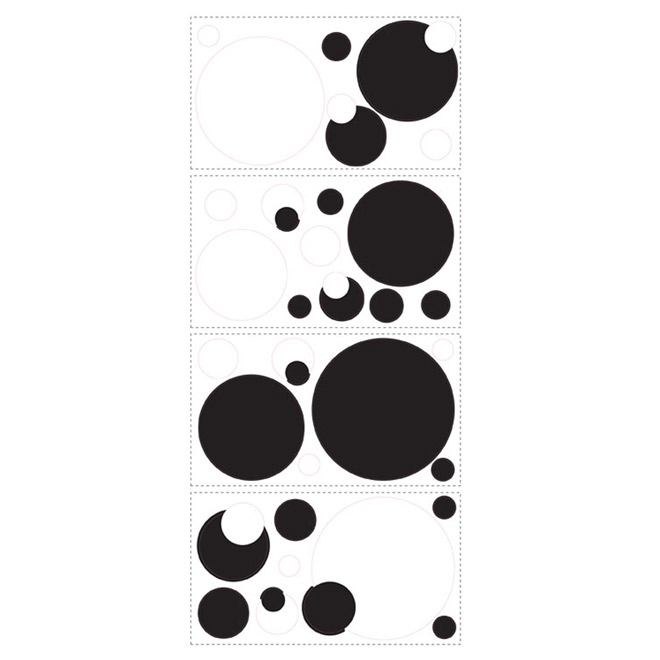 Peel and Stick Wall Decals - Black and White Chalkboard Dots