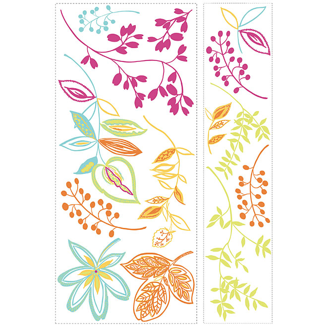 Peel and Stick Wall Decals - Flowers and Leafs