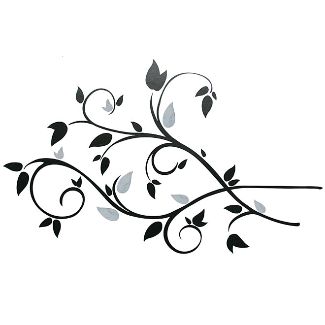 Peel and Stick Wall Decals - Scroll Branch Foil Leaves