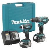 Cordless Impact Driver and Hammer Drill Set - 18V - 6 Pieces