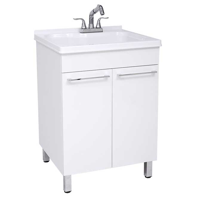laundry tub kit with faucet and cabinet white