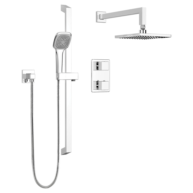 Hand Shower Rail Kit with Thermo Diverter-Quadrato