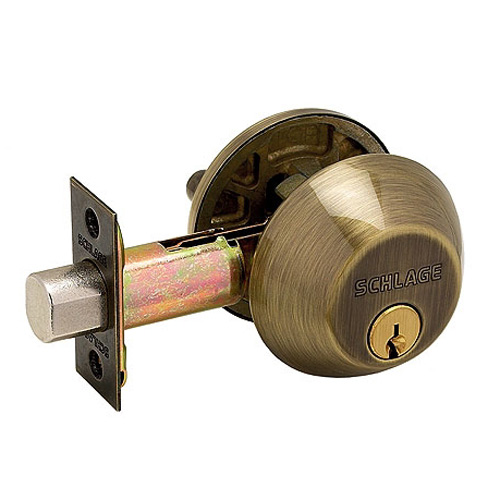 Single Cylinder Deadbolt Antique Brass