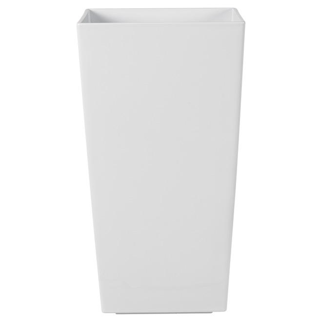 """Kubico"" Tall Plastic Planter 30"" - White"