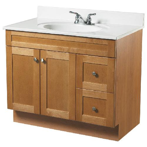 Meuble lavabo 2 portes et 2 tiroirs rona for Lavabo et meuble