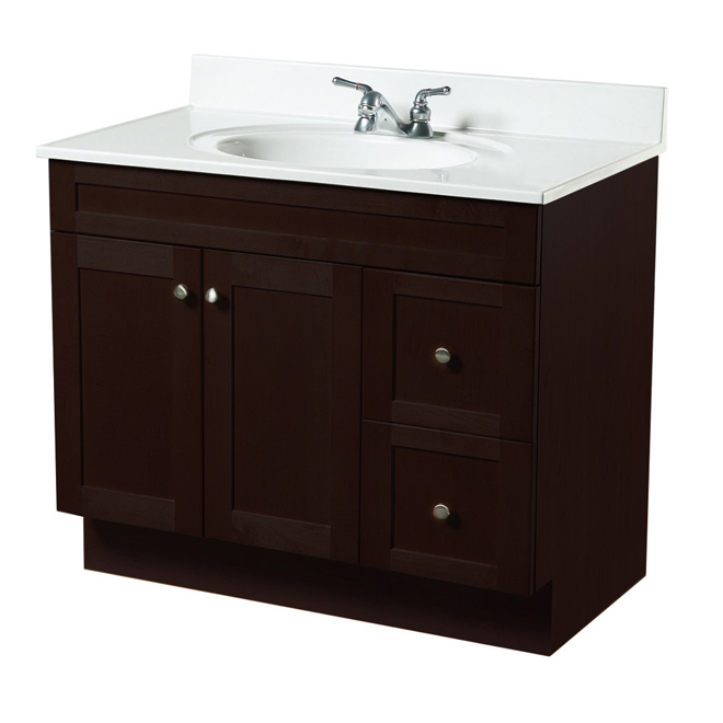 rona bathroom cabinets quot everwood quot vanity with 2 doors and 2 drawers espresso rona 14244