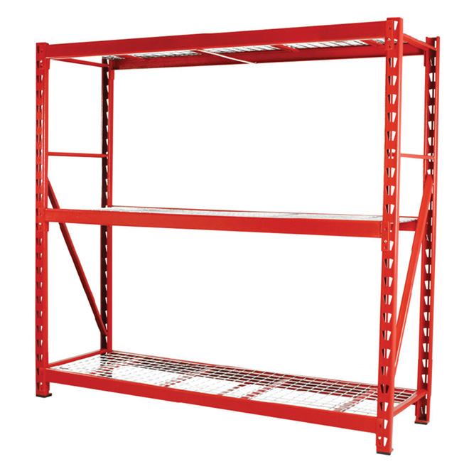 3 shelf industrial rack 72 x 77 red rona. Black Bedroom Furniture Sets. Home Design Ideas