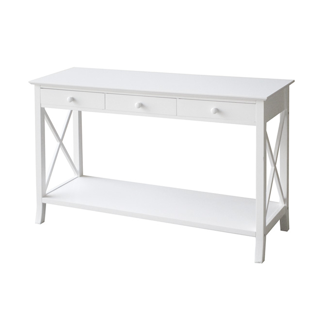 Table console 3 tiroirs, blanche